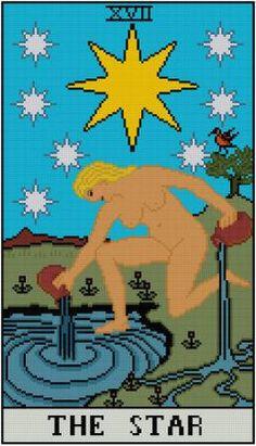 The Star Tarot Card cross stitch pattern PDF Major by Whoopicat