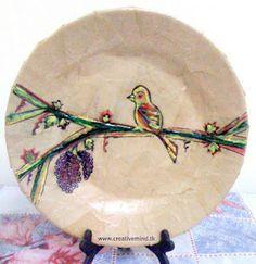 Spring Plate Decoupage & Paint