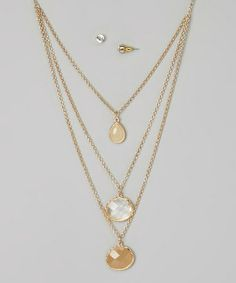 Another great find on #zulily! Gold Triple-Strand Pendant Necklace & Earrings by Ethel & Myrtle #zulilyfinds