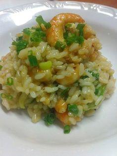 Risoto de camarão, gengibre e laranja