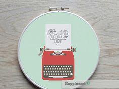 modern cross stitch pattern typewriter LOVE,  Valentine,PDF  ** instant download**
