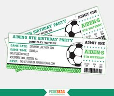 Soccer Party Ticket Invitation - For Kids' Soccer Birthday. by PixieBearParty on Etsy, $15.00