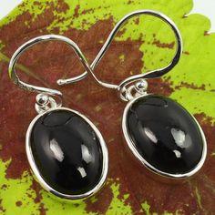 925 Solid Sterling Silver Lovely Earrings Genuine BLACK ONYX Gemstones Best Gift #SunriseJewellers #DropDangle
