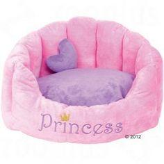Cama para princesas reales de cuatro patas, realizada en suave felpa, con almohada extra en forma de corazón y un bonito bordado.