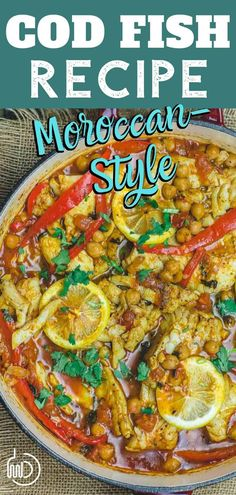 Moroccan Fish Ready to take your fish dinner to a new level of delicious? This easy, saucy, flavor-packed Morrocan fish w/ chickpeas, tomatoes & peppers is it! Cod Fillet Recipes, Cod Fish Recipes, Seafood Recipes, Recipes Dinner, Mediterranean Diet Recipes, Mediterranean Dishes, Moroccan Fish Recipe, Moroccan Recipes, Seafood