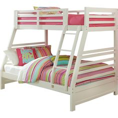 Hillsdale Furniture's  Bailey Twin/ Full Bunk Bed with Trundle ($660) ❤ liked on Polyvore featuring home, children's room and children's furniture
