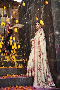 Cream Silk Wedding Saree