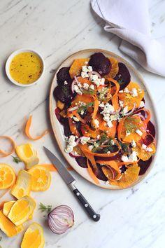 Salade betterave, orange, carotte & feta, vinaigrette citron miel #recetteautomne
