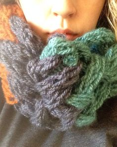 Double finger knit Pumpkin, Teal, Charcoal Cowl Neck Scarf on Etsy, $38.00