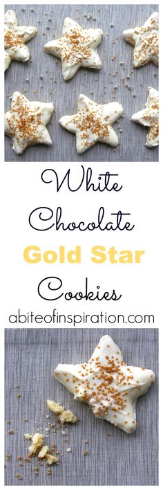 Tasty sugar cookies dipped in white chocolate and finished with gold sugar. Go ahead-- give yourself the star treatment.  You deserve it! ;)
