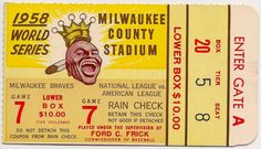 1958 World Series World Series Tickets, Milwaukee County, Ticket Stubs, Game 7, League Gaming, Brave New World, American League, National League, Atlanta Braves