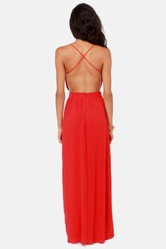 LULUS Exclusive Rooftop Garden Backless Red Maxi Dress at LuLus.com! GAWJUSSS!