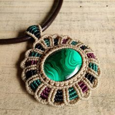 Macrame Choker Necklace Pendant Cabochon Malachite Leather Waxed Cord Handmade…