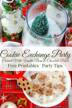 Tips for Hosting the best Cookie Exchange Party ever! Free printables, easy DIY centerpiece and #DairyFree4All Coconut Vanilla Bean & Chocolate Punch. AD