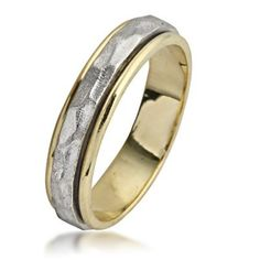 Two Toned Hammered Spinning  Gold Wedding Ring