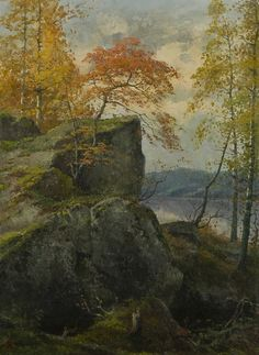 Ellen Favorin - The mountain lake, oil on canvas, 52 x 38 cm. The Other Side, Love Flowers, Finland, Art Sketches, Oil On Canvas, Past, Sky, Autumn, Landscape