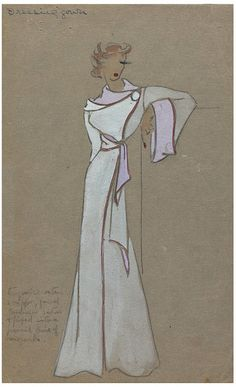Design        Date:        late 1930s      Artist/Maker:        Pittrohf, Nan, born 1908 - died 1997 (fashion designer)      Materials and Techniques:        Pencil, body-colour and water-colour on grey card