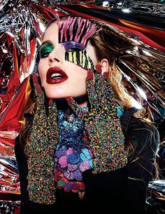 """Rave New World"" | Models: Doutzen Kroes, Caroline Brasch Nielsen, Aymeline Valade & Nadja Bender, Photographer: Mario Sorrenti, W Magazine, March 2013"