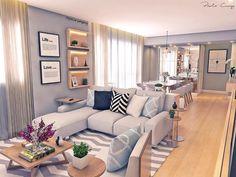 """2,378 curtidas, 37 comentários - Paola Cury Arquitetura e Eng. (@pacuryarqeng) no Instagram: """"Projeto lindo do dia: essa sala que eu amo! #3D #projeto #sala #livingroom #estar…"""""""