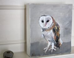 Owl painting on wood scrap block
