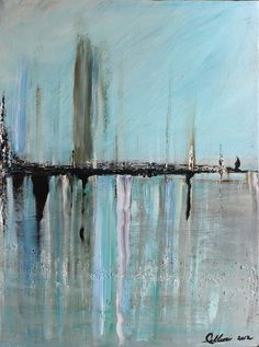 Original Acrylic Landscape Abstract Painting  Cityscape Palette Knife Textured Art 36x24. $194.00, via Etsy.