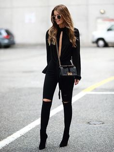 """justthedesign: """" Nette Nestea is looking fierce in this all black outfit of black jeans and an open-slit tee! Top: H&M, Bag: Chanel, Jeans: Topshop, Shoes: Christian Louboutin """" Mode Outfits, Chic Outfits, Fall Outfits, Summer Outfits, Fashion Outfits, Womens Fashion, Fashionable Outfits, Woman Outfits, Fashion Hair"""
