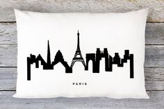 Paris Skyline Pillow Cover - Paris Cityscape Throw Pillow Cover - Modern Black and White Lumbar Pillow - By Aldari Home by AldariHome on Etsy