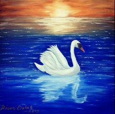 Kuğu Swan Painting, Modeling Paste, Painting Techniques, Art Ideas, Bird, Animals, Paint Techniques, Animales, Animaux