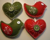 Green & red felt ornaments