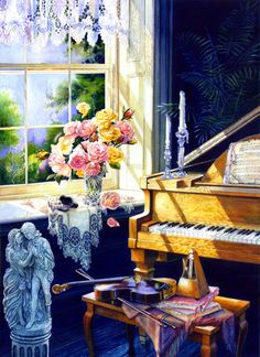 Virginia Waltz by Hanne Lore Koehler ~ piano ~ violin ~ metronome ~ still life music themed art
