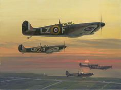 Supermarine Spitfire Mk-I's, with the two bladed fixed pitch propellers, heading towards the English channel .