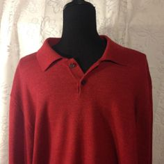 Men's Valda by Toscano red 2 button red 100% Italian wool sweater SZ XL