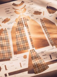 A diagram from the Burberry Heritage Archive - over 100 individual processes go into making the iconic trench coat