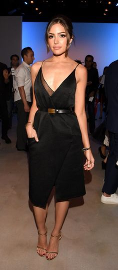 Olivia Culpo wore a sexy black dress to a NYFW show