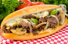 Philly Cheesesteak - Really good comfort food, with mushrooms, onions and hot peppers please; hold the green peppers