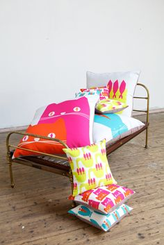 Fabulous, bright bold cushions from Hunkydory Home Cat Cushion, Cushion Fabric, Cushion Covers, Giant Floor Cushions, Room Interior Colour, Handmade Lampshades, Chula, Shop Interiors, Kid Spaces