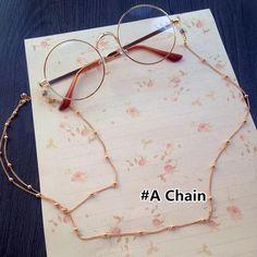 Lolita Retro Glasses with Chain - Korean Accessories, Kawaii Accessories, Fashion Accessories, Circle Glasses, Mode Kawaii, Cool Glasses, Fashion Eye Glasses, Cute Sunglasses, Womens Glasses