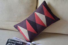 cotton linen Fabrics shade pillow Geometric patterns Purple red Pillow Cover violet  pillow pattern cushion cover cushion case pillowcase