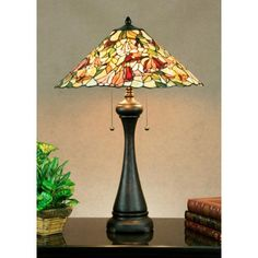 Alessandra Crimson Noir Three-Light Tiffany Table Lamp