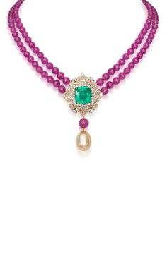 http://rubies.work/0210-ruby-rings/ Regal Emerald And Ruby Necklace by Farah Khan Fine Jewelry for Preorder on Moda Operandi