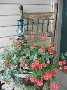 Love this look. I have one of these old chairs with a beaut-Love this look. I have one of these old chairs with a beautiful lantana in my p… Love this look. I have one of these old chairs with a beautiful lantana in my perennial bed! Garden Yard Ideas, Lawn And Garden, Garden Projects, Garden Decorations, Flower Planters, Garden Planters, Flower Pots, Flower Containers, Chair Planter