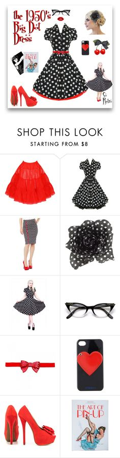1950's Big Dot Dress by modern-grease on Polyvore featuring JustFab, Iphoria, modern, vintage, retro and Costume