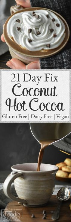 This rich, homemade 21 Day Fix coconut hot cocoa is our new favorite cold-weather warm-up. A super indulgent treat for the whole family that's also gluten free, dairy free and vegan! #glutenfree #dairyfree #21dayfix #vegan #kidfriendly #healthy #christmas