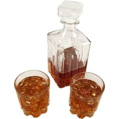 Whiskey Brandy Decanter Glass 3 piece Set FAKE DRINK Decorcentral.com... ($55) ❤ liked on Polyvore featuring home, kitchen & dining, bar tools, food, fillers, food and drink, alcohol, drinks, glass whiskey decanter and glass whisky decanter