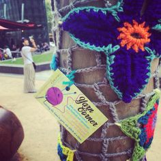 Yarn Corner's 4th annual yarnbombing of City Square in Melbourne.