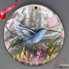 Keychain Hand Painted Hummingbird Necklace Shell Pendant Beads ZL303418 #ZL #Pendant