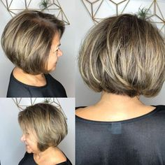 Rounded Brown Blonde Bob Over 60