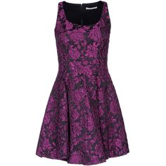 Alice+Olivia Short Dress (€210) ❤ liked on Polyvore featuring dresses, vestidos, short dresses, purple, purple floral dress, short purple dresses, floral print dress, purple cocktail dress and floral dress