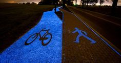 Glow-In-The Dark Paths: Solar Powered Lanes Are Shimmering in Poland. Particles called luminophores collect energy from the sun during the day, which allows the path to glow for up to 10 hours. Energy-efficient lighting solutions are vital in the city – glowing paths avoid the financial and environmental costs of overhead lighting.