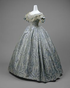 Ball gown Date: ca. 1860 Culture: probably American Medium: silk, cotton